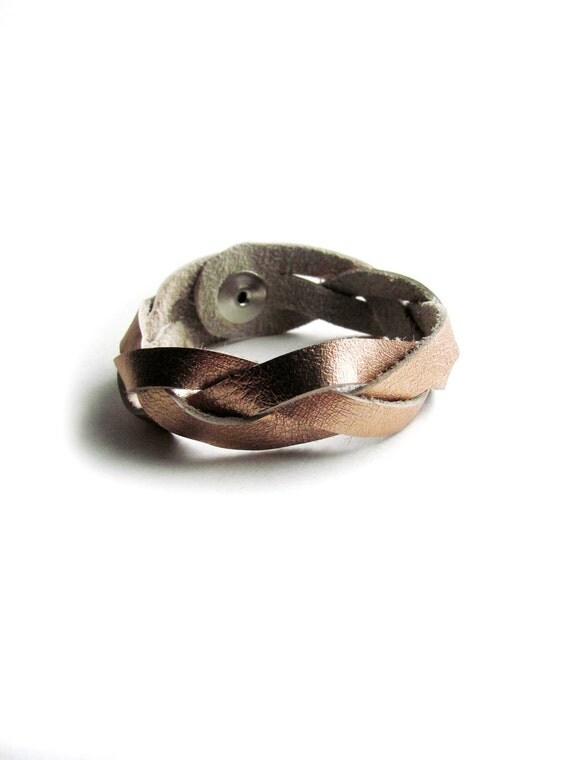 Metallic Rose Gold Braided Leather Bracelet by Ohlnu