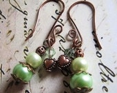Hammered Copper Collection Earrings. Green pearls, heart charm, faceted swarovski crystals, copper, bronze color