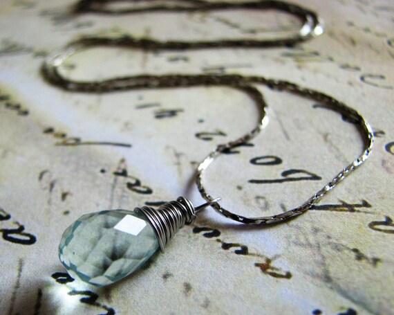 Aqua Quartz Czech Glass Faceted Teardrop on Silver Plated Necklace. original Froshjewels necklace
