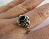 Ornate Garnet Sterling Silver Poison Ring Size 9