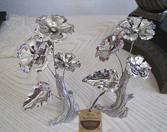 Vintage Flower Wire Sculptures by Princess Art A pair Set with original tag, So Lovely, Modern Art