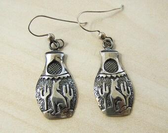 Howling Wolf Sterling Silver Earrings, vintage Native American earrings