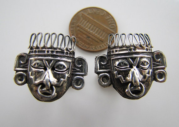 Vintage Signed Mexican Sterling Silver Aztec Warrior Mask Face Cufflinks (rare seen)
