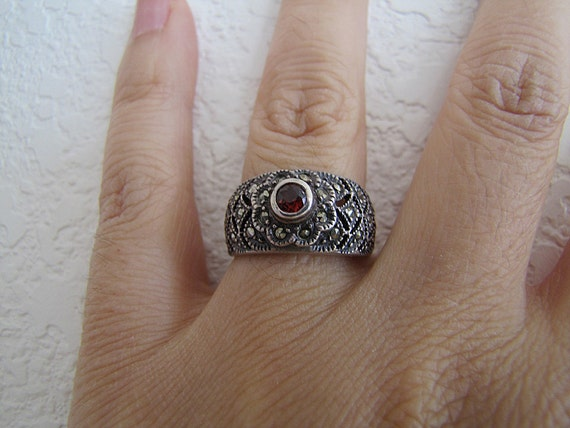 Garnet Marcasite Wide Band Sterling Silver Ring Size 7