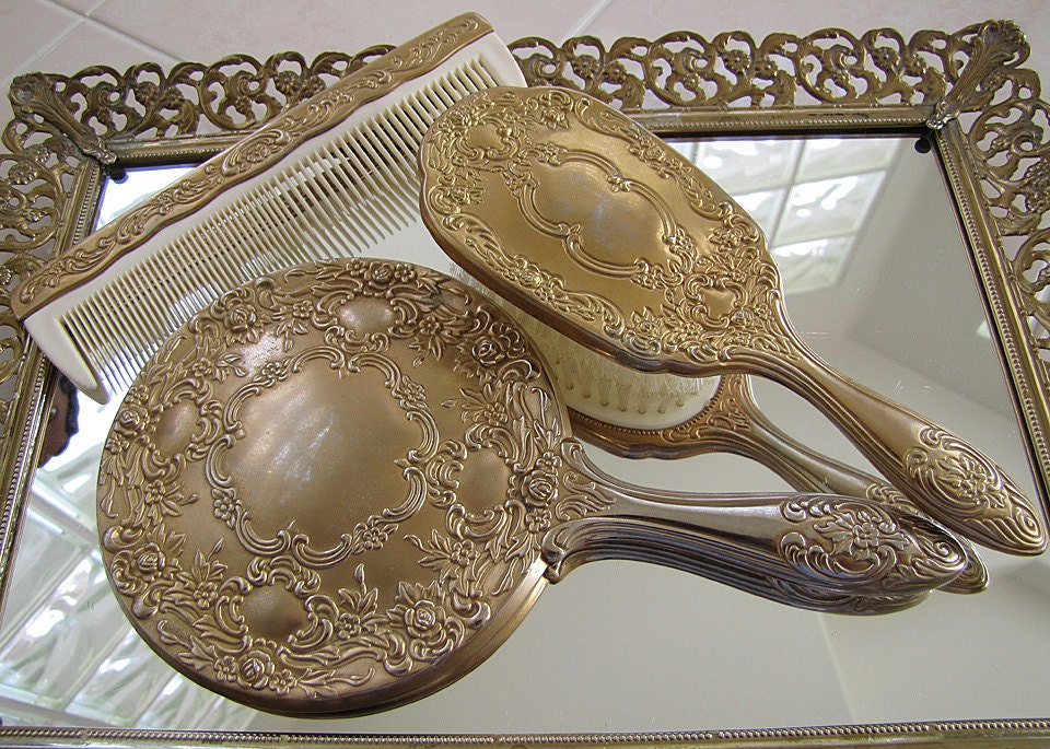 Ornate Vintage Vanity Set Mirror Brush And Comb So