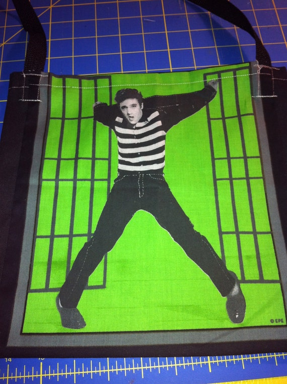 Elvis Presley Jailhouse Rock on Green Tote Bag