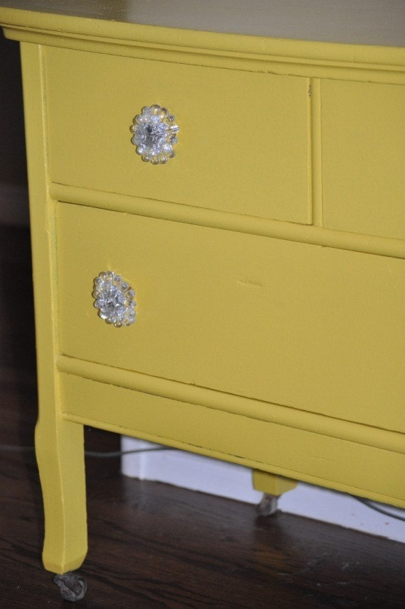 Reserved- Vintage Yellow Dresser 1940's
