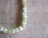 Faceted Soft Green Jade Necklace, OOAK, Hand-knotted Silk, Sterling Silver
