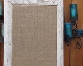 Speical Order for Beth  Large Cork Push Pin Bulletin Board with reclaimed distressed wood and burlap