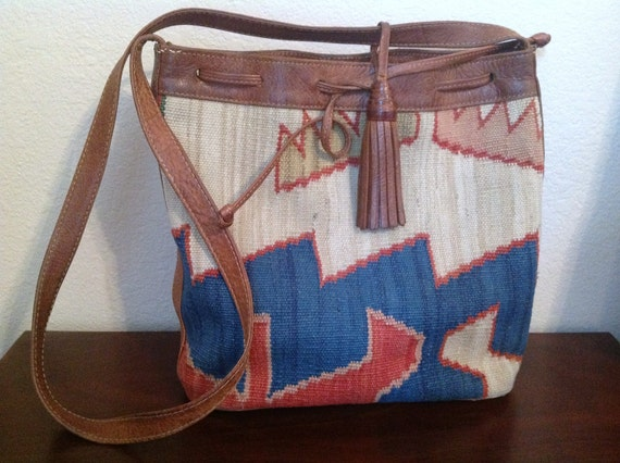 Vintage Leather and Woven Southwest Tapestry Purse