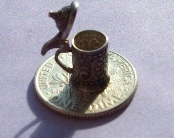 800 Silver Miniature German Beer Stein Vintage Dollhouse Piece