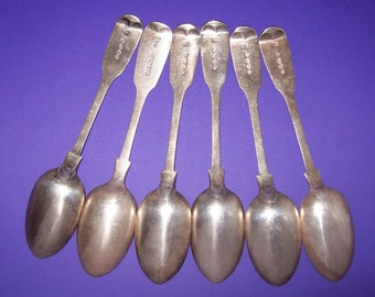 1857 Victorian Sterling Silver Spoons Fiddle Pattern English