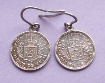 1881 Victorian India Silver Coin Earrings