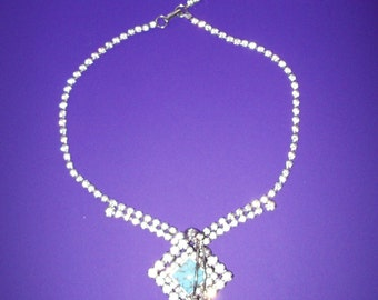 1950s Sterling Silver Rhinestone Turquoise Necklace by Jay Flex