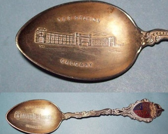 Calgary CPR Train Station Souvenir Spoon Sterling Silver