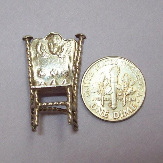 Antique Miniature Chair Dutch Silver Dollhouse