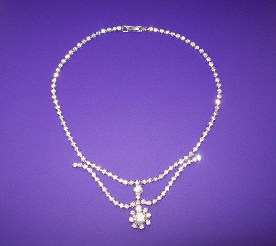 1950s Sterling Silver Rhinestone Necklace by Jay Flex