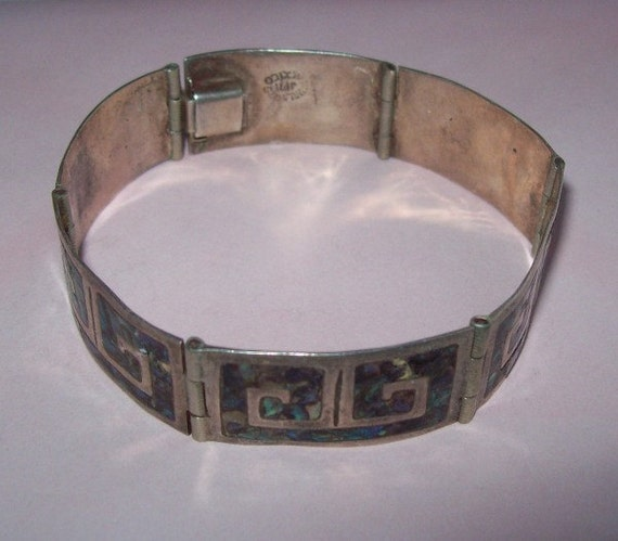 Mexican Sterling Silver Abalone Inlay Panel Bracelet
