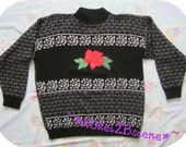 Single Red Rose - Vintage Sweater - Black with Metallic Silver Hearts
