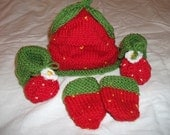 Strawberry Outdoor Set -Baby Booties, Mittens and Hat - Newborn to 3 months