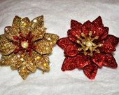 Christmas Hair Accessory, Red or Gold Chrysanthemum