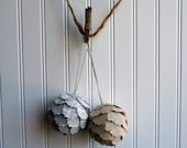 Vintage Paper Christmas Ornament-Accent Ball-Pinecone Style
