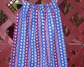 Patriotic Pillowcase Dress, Size 3
