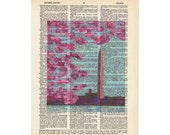 """The """"Cherry Blossoms & The Washington Monument""""...Washington D.C Art...printed on an upcycled dictionary page."""