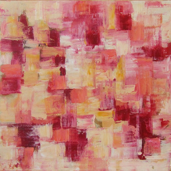 17 x 17 Square Abstract...Mixed Media Painting... Cold Wax and Oil Paint...Red, Pink, Orange, Yellow & White Art