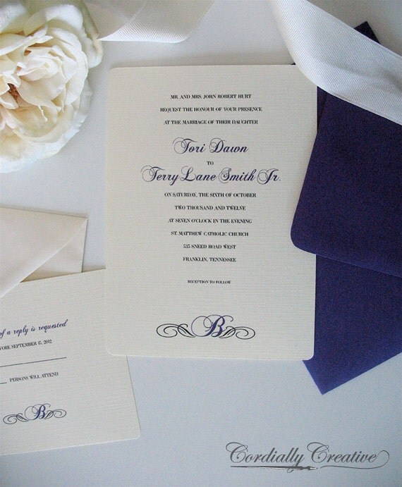 Traditional Wedding Invitation with Initial (shown in Purple, with RSVP Card)