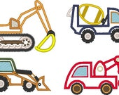 construction Equipment  - 4 elements machine embroidery applique designs, download for hoop 4x4, 5x7 and 6x10