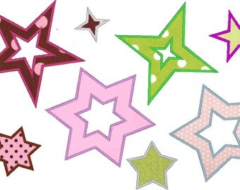 Single STARS machine embroidery applique designs INSTANT DOWNLOAD - set of 8 in 1, 2 , 3 ,4 , 5 and 6 inches