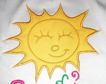 Summer Sun - machine embroidery applique designs INSTANT DOWNLOAD - multiple sizes