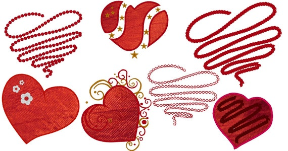 Different Valentine Hearts machine embroidery applique designs INSTANT DOWNLOAD - SET of  7 , 4x4, 5x7 and 6x10