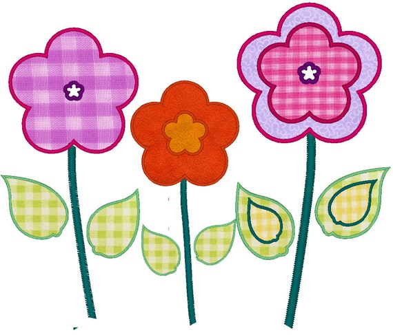 FLOWER GARDEN - machine embroidery applique designs - 3 types, multiple sizes, instant download 4x4, 5x7, 6x10 and 8x12