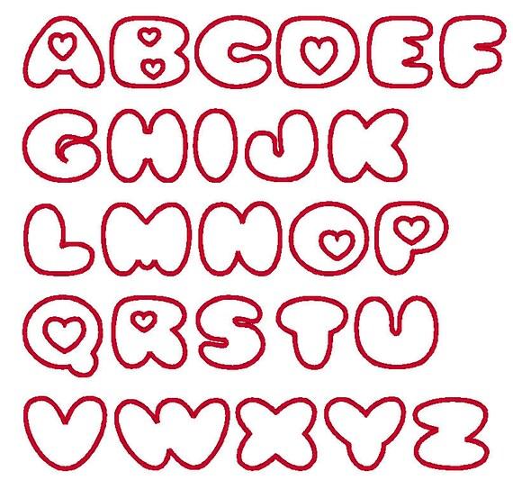Portaoggetti Design Letters Numbers : Love hearts font valentine machine embroidery applique