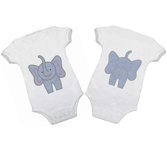 Elephant front and back - machine embroidery applique and fill stitch designs - download  4x4,5x7 and 6x10