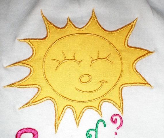 Summer Sun - machine embroidery applique designs INSTANT DOWNLOAD - multiple sizes