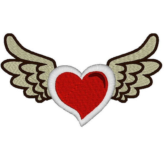 items similar to tattoo winged heart for baby onsie machine embroidery applique and fill. Black Bedroom Furniture Sets. Home Design Ideas