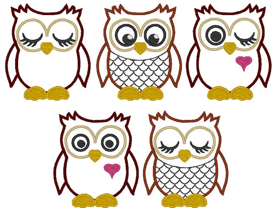 OWLs - machine embroidery  fill stitch and  appliqué designs, INSTANT DOWNLOAD  5 various