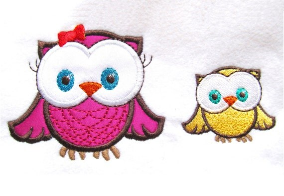 Owls girly and boyish and mini fill stitch - machine embroidery fill stitch and applique designs INSTANT DOWNLOAD 4x4, 5 x 7 and 6 x 10