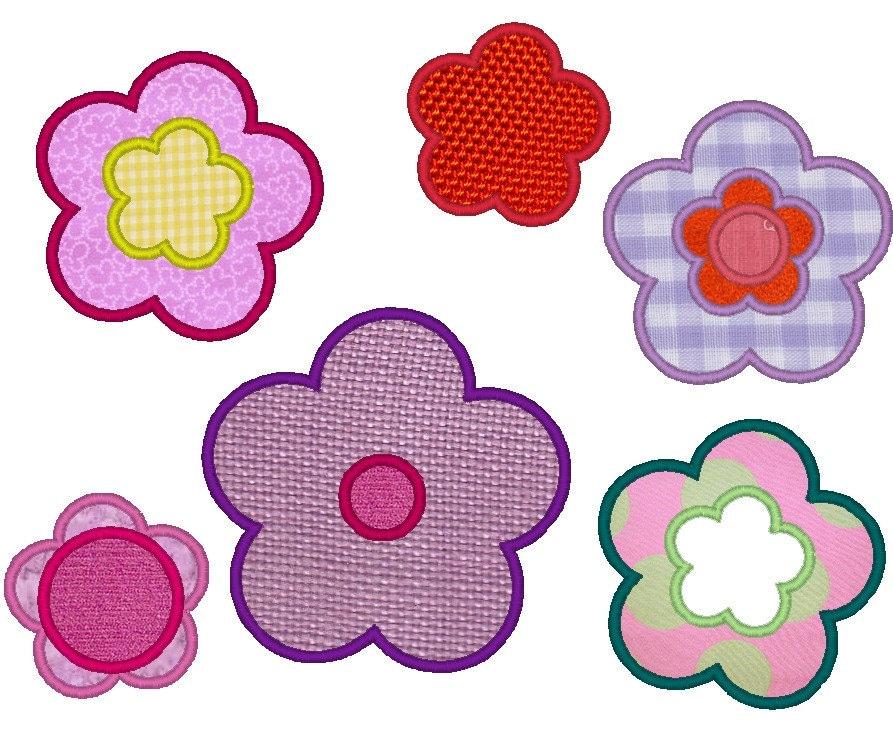 Flowers single machine embroidery applique designs set