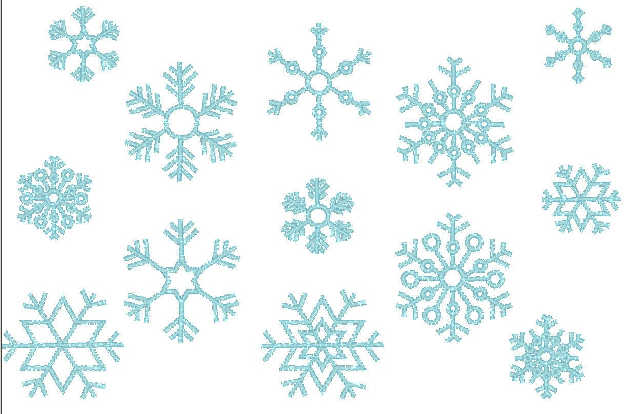 Single 9 Snowflakes 9 Types Machine Embroidery Design