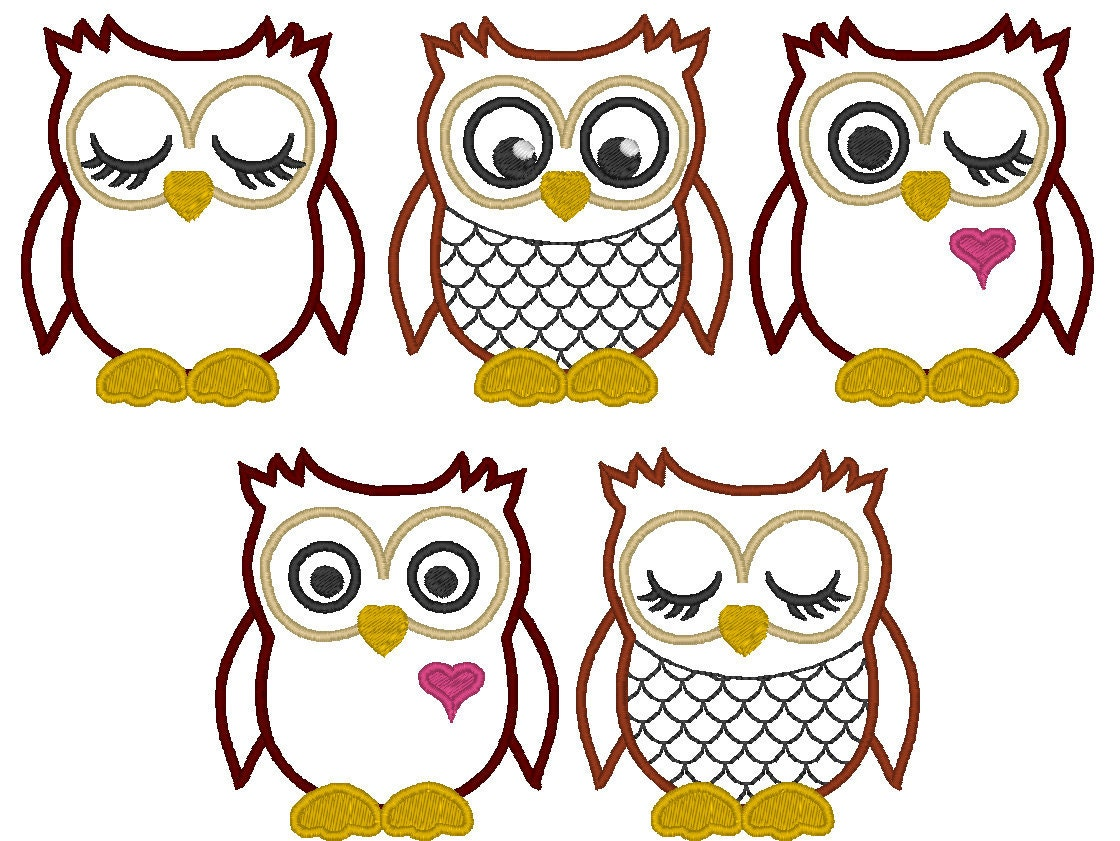 Owls machine embroidery fill stitch and appliqué designs