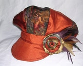 Custom made FOR Alison  Polyester silky jacquard newsboy cap with feather fascinator fully lined, reversible