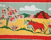 RESERVED 1940s Vintage Tablecloth, Mexican Graphics