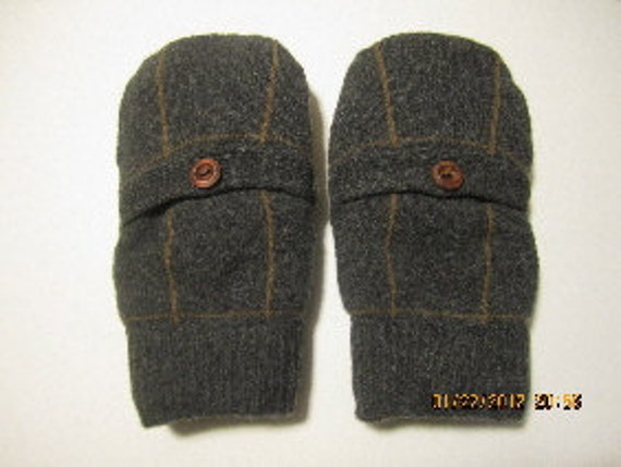 Gray Brown Felted Wool Mittens made from Recycled Sweaters Fleece Lined with a Leather Like Palm & a POCKET Adult Medium/Large