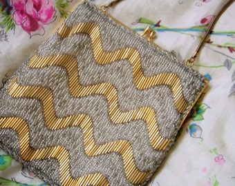 Vintage 60's Gold Beaded Cocktail Bag