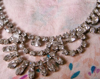 Vintage Glam Bib Rhinestone Necklace