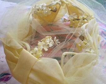 Vintage Chiffon Veil Hat-Yellow Roses